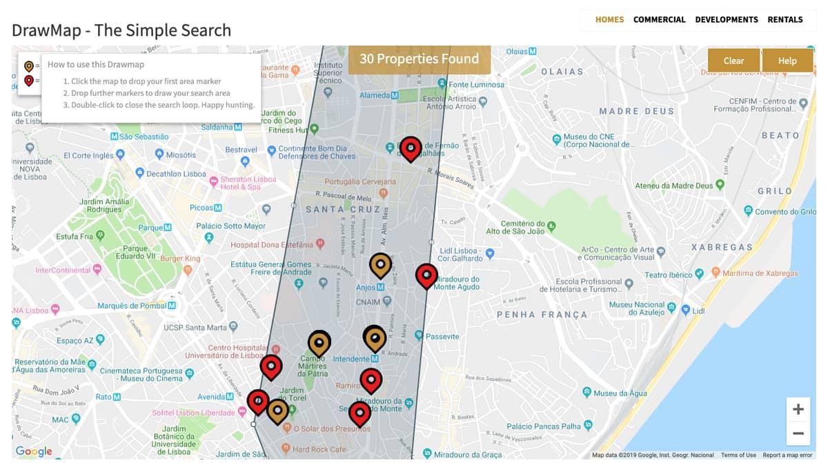 Lisbon map best properties in Avenida Almirante Reis